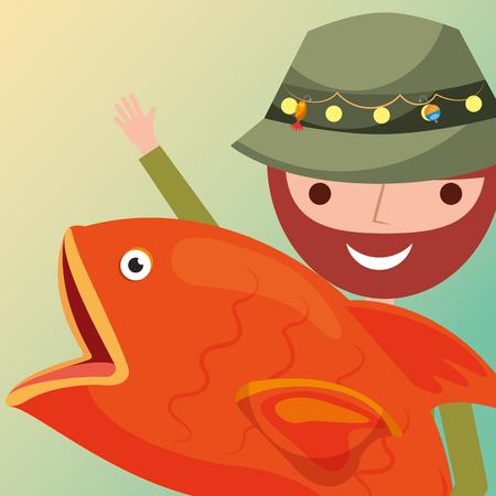 fisherman cartoon character holding big fish vector illustration