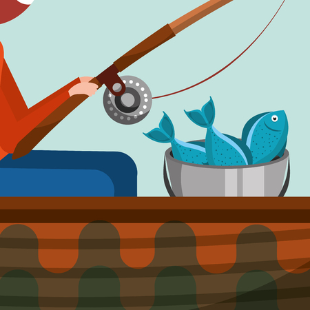 fisherman sitting fishing leisure concept vector illustration Standard-Bild - 101452856