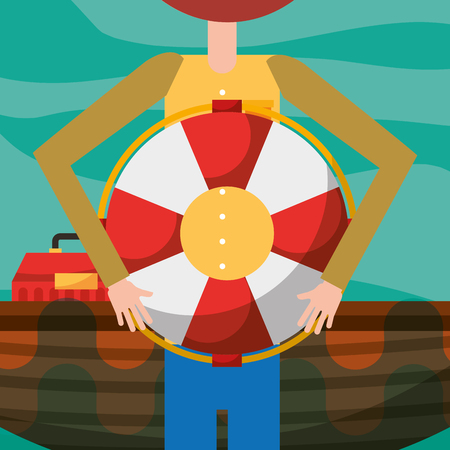 fisherman cartoon holding lifebuoy and boat vector illustration