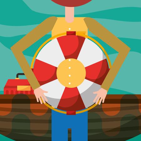 fisherman cartoon holding lifebuoy and boat vector illustration