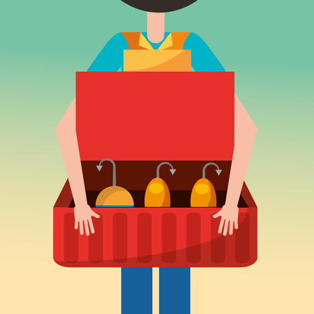 fisherman holding open tackle box with hooks vector illustration