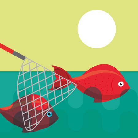 fishing net catching fishes on lake vector illustration