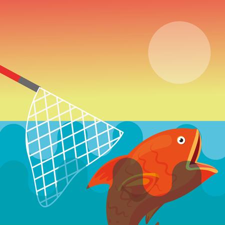 damaged fishing net escapes the fish vector illustration  イラスト・ベクター素材