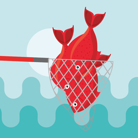 red fishes caught in fishing net vector illustration