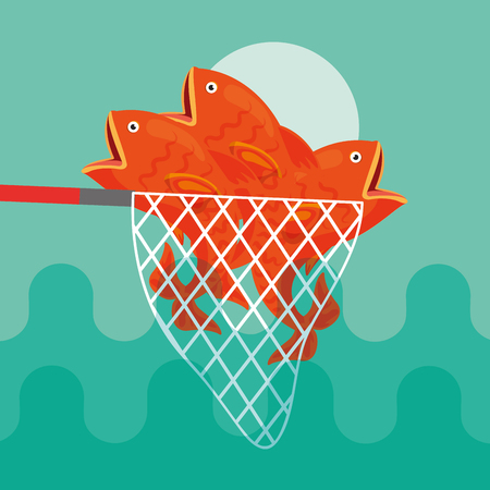 many fishes caught in fishing net vector illustration Illustration