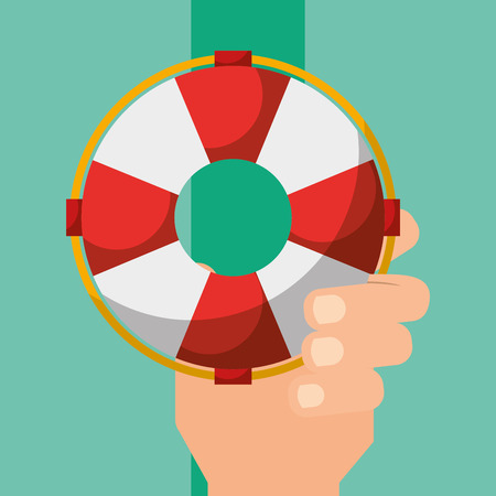 hand holding lifebuoy security maritime vector illustration