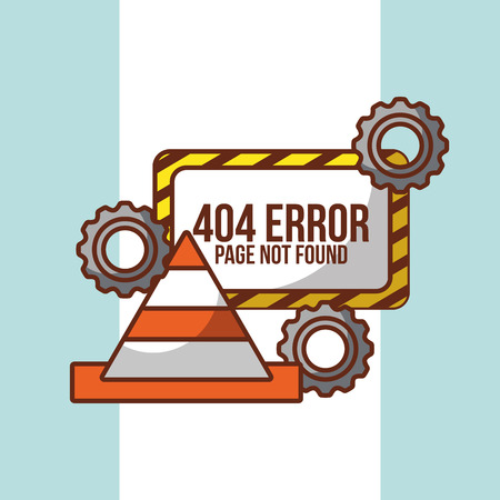 404 error page not found board gear and construction cone vector illustration Çizim