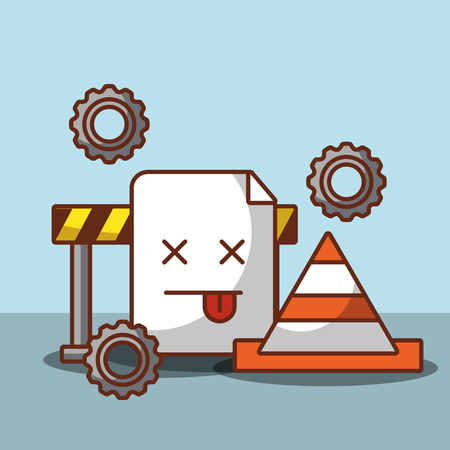 404 error page not found construction cone and barricade vector illustration
