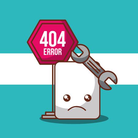 404 error page not found tool support and sign board vector illustration  イラスト・ベクター素材