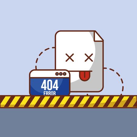 404 error page not found website and barricade tape vector illustration Ilustração