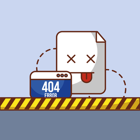 404 error page not found website and barricade tape vector illustration Illustration