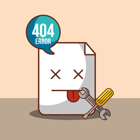 404 error page not found speech bubble construction tools vector illustration Illustration