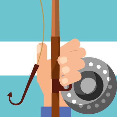 hand holding fishing rod equipment vector illustration Foto de archivo - 101453034