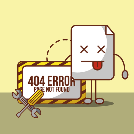 404 error page not found technical problem vector illustration