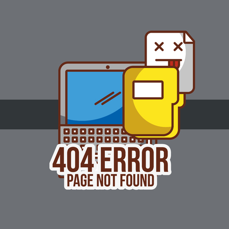 404 error page not found laptop and folder files vector illustration