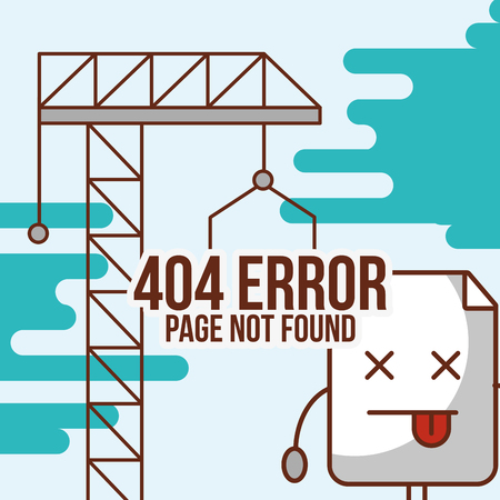 crane with inscription 404 error page not found vector illustration