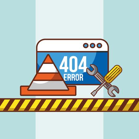 404 error website technical crisis tools vector illustration