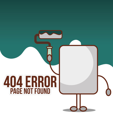 404 error page not found  paper holding roller paint vector illustration Ilustracja