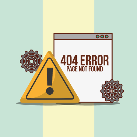 website warning sign 404 error page not found vector illustration