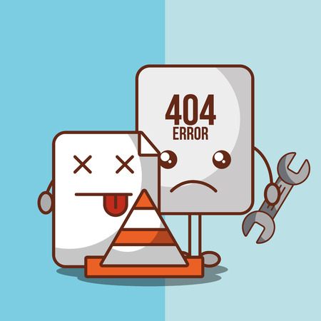 sheet holds tool 404 error page not found vector illustration