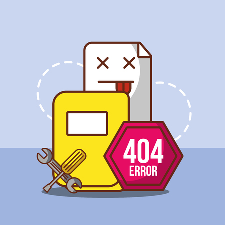 404 error page not found files sign board support tools vector illustration