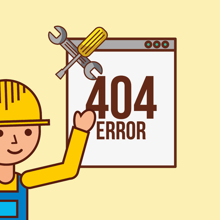construction worker support 404 error page not found vector illustration Illustration