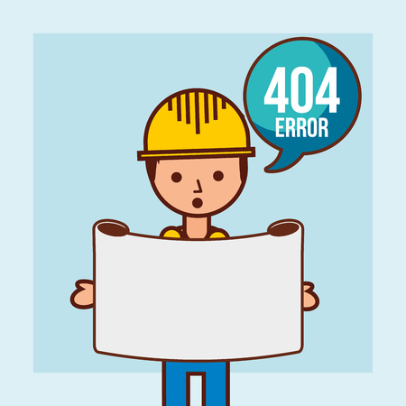 worker holds message 404 error page not found vector illustration