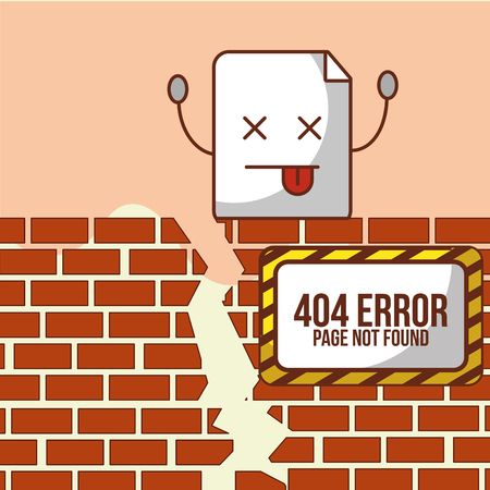 brick wall broken under construction 404 error page not found vector illustration Illustration