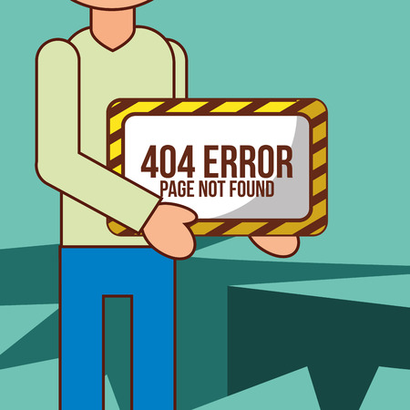 man cartoon holds 404 error page not found board vector illustration