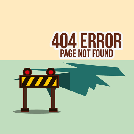 under construction barricade 404 error page not found vector illustration