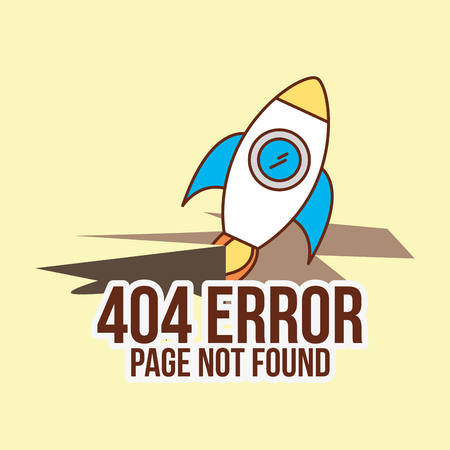 rocket startup 404 error page not found vector illustration