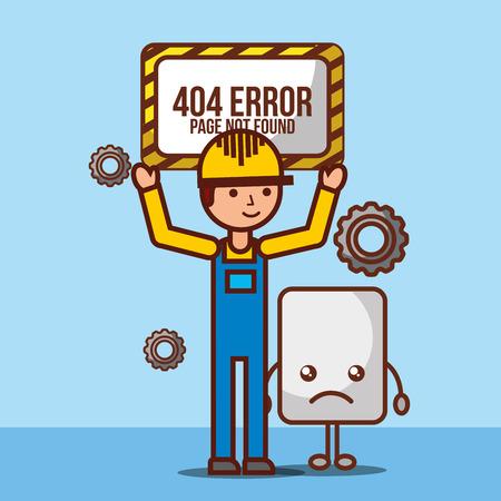 worker holding board 404 error page not found vector illustration Illustration