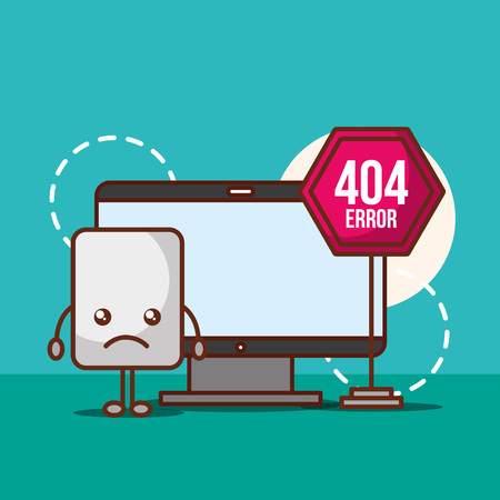 computer warning alert problem 404 error page not found vector illustration Ilustração
