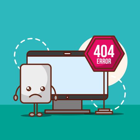 computer warning alert problem 404 error page not found vector illustration Illustration