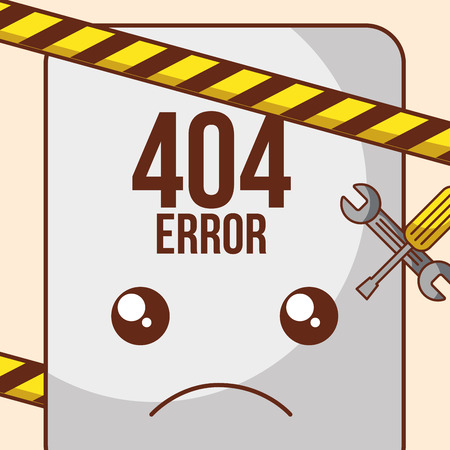 page 404 error barricade tape and tools vector illustration
