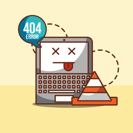 laptop with speech bubble announce 404 error page not found vector illustration Stock Illustratie
