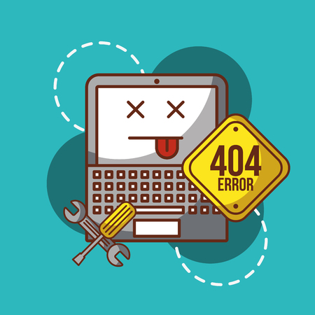laptop tools problem sign 404 error page not found vector illustration