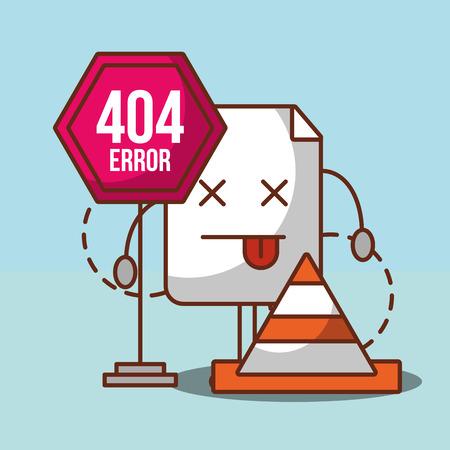 404 error page not found sign board cone alert vector illustration
