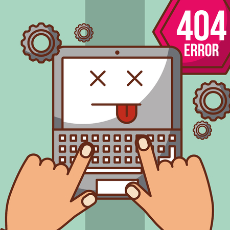 hands typing in laptop with notice 404 error page not found vector illustration