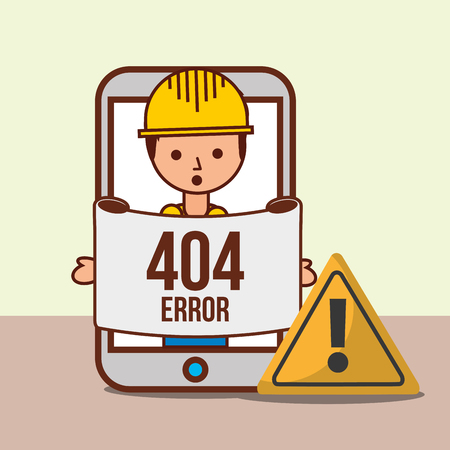 worker solution in smartphone 404 error page not found vector illustration