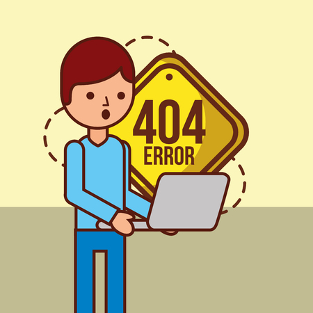 boy holds laptop with 404 error page not found message vector illustration Çizim