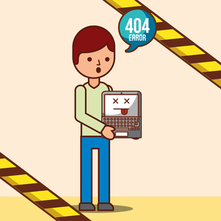 boy cartoon with laptop 404 error page not found vector illustration