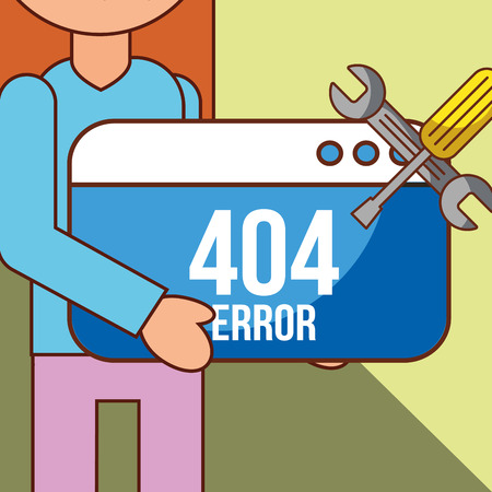 girl character and web site support 404 error page not found vector illustration