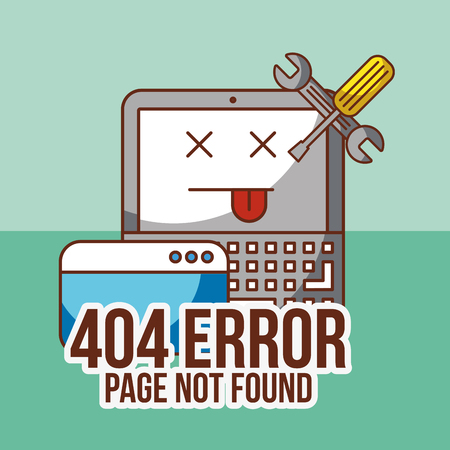 404 error page not found laptop trouble tools vector illustration Illustration