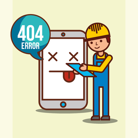 worker and mobile with 404 error page not found vector illustration  イラスト・ベクター素材