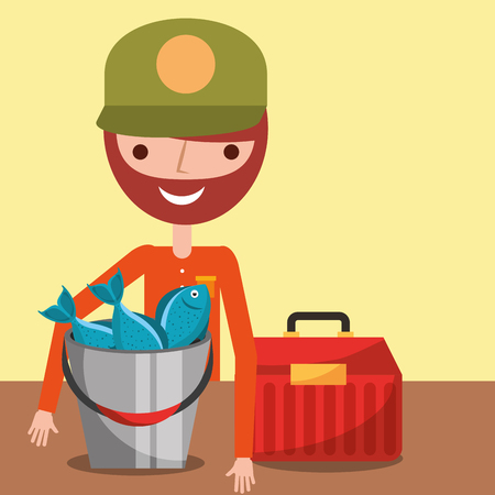 portrait fisherman with many fishes and tackle box vector illustration