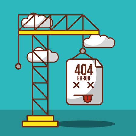 crane construction with lettering 404 error page not found vector illustration