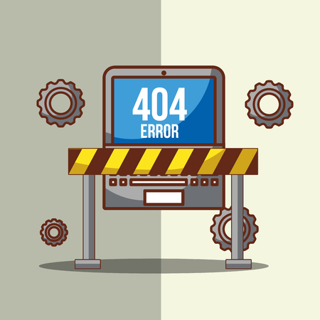 laptop with barricade tape of 404 error page not found vector illustration Ilustracja