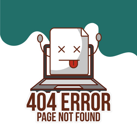 laptop device 404 error page not found vector illustration