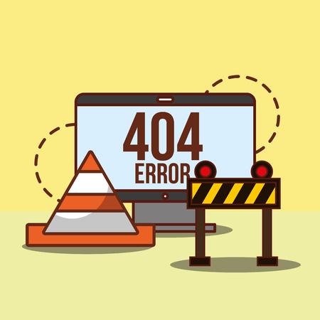 computer under construction web 404 error page not found vector illustration